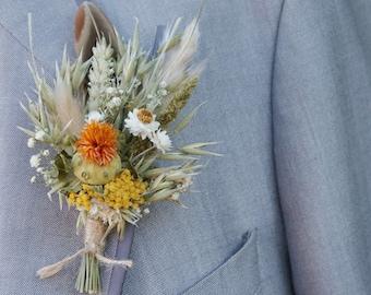 Pampas Prairie Amber Dried Wedding Flower Buttonhole