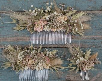 Pampas Prairie Blush Dried Wedding Flower Hair Comb