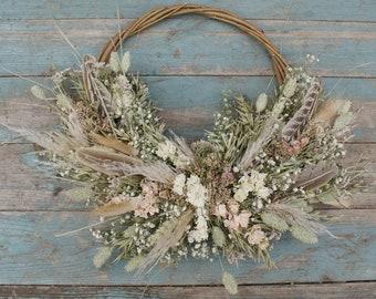 Pampas Prairie Blush Dried Flower Bridesmaid Hoop Wreath Decoration