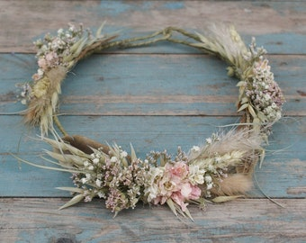 Pampas Prairie Blush Dried Wedding Flower Hair Crown