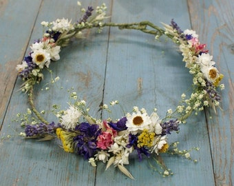 Festival Meadow Dried Flower Hair Crown