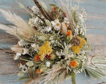 Pampas Prairie Amber Dried Flower Wedding Bouquet
