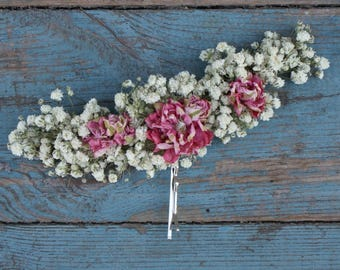 Boho Candyfloss Dried Flower Large Hair Grip