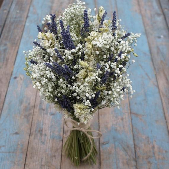 Lavender Twist Babys Breath Dried Flower Wedding Bouquet | Etsy