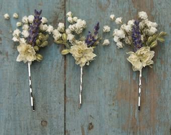 Lavender Twist Babys Breath Hair Grips Set of 3