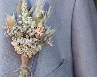 Pampas Prairie Blush Dried Wedding Flower Buttonhole
