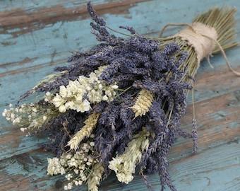 Lavender Wheat Oats Baby's Breath Dried Flower Bouquet