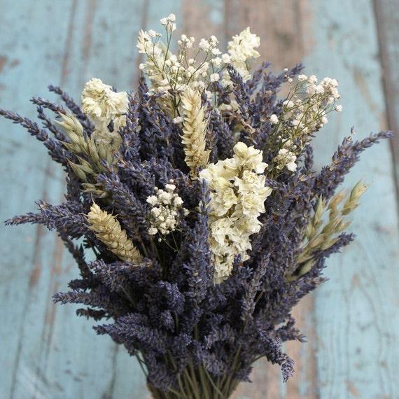 Lavender Wheat Oats Baby\'s Breath Dried Flower Bouquet | Etsy
