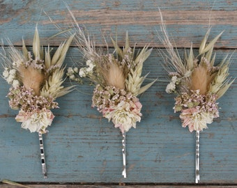 Pampas Prairie Blush Dried Wedding Flower Hair Grips Set of 3