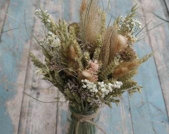 Pampas Prairie Blush Dried Flower Jar Posy Wedding Table Centerpiece