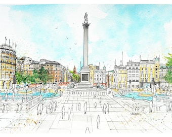 Trafalgar Square, Westminster, London, Great Britain, Watercolor Painting, Wall Art, Home Decor, Giclee Print
