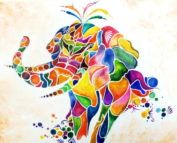 Colorful Elephant Animal Art Abstract Shapes Designs Artwork Giclee Print Wall Art