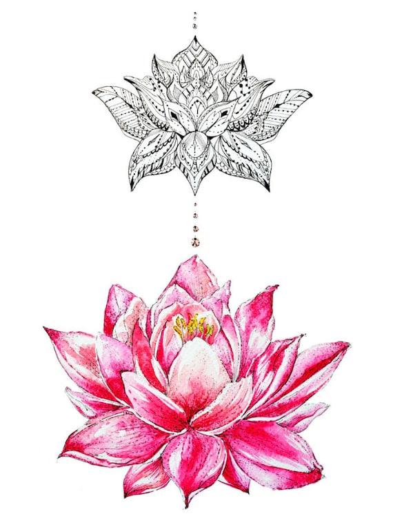 Pink lotus flower abstract art pen work art floral design etsy image 0 mightylinksfo