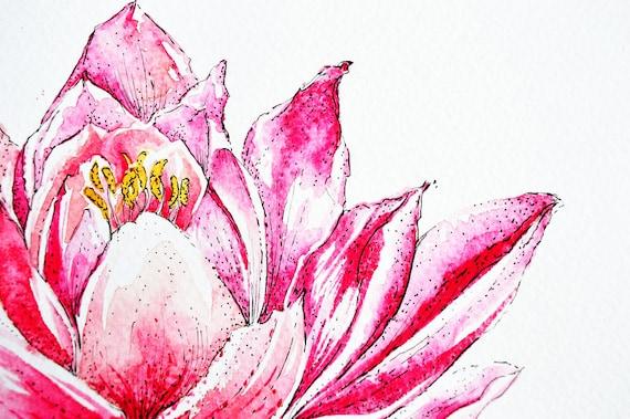 Pink lotus flower abstract art pen work art floral design etsy pink lotus flower abstract art pen work art floral design buddhism watercolor print buddhist home decor wall art mightylinksfo