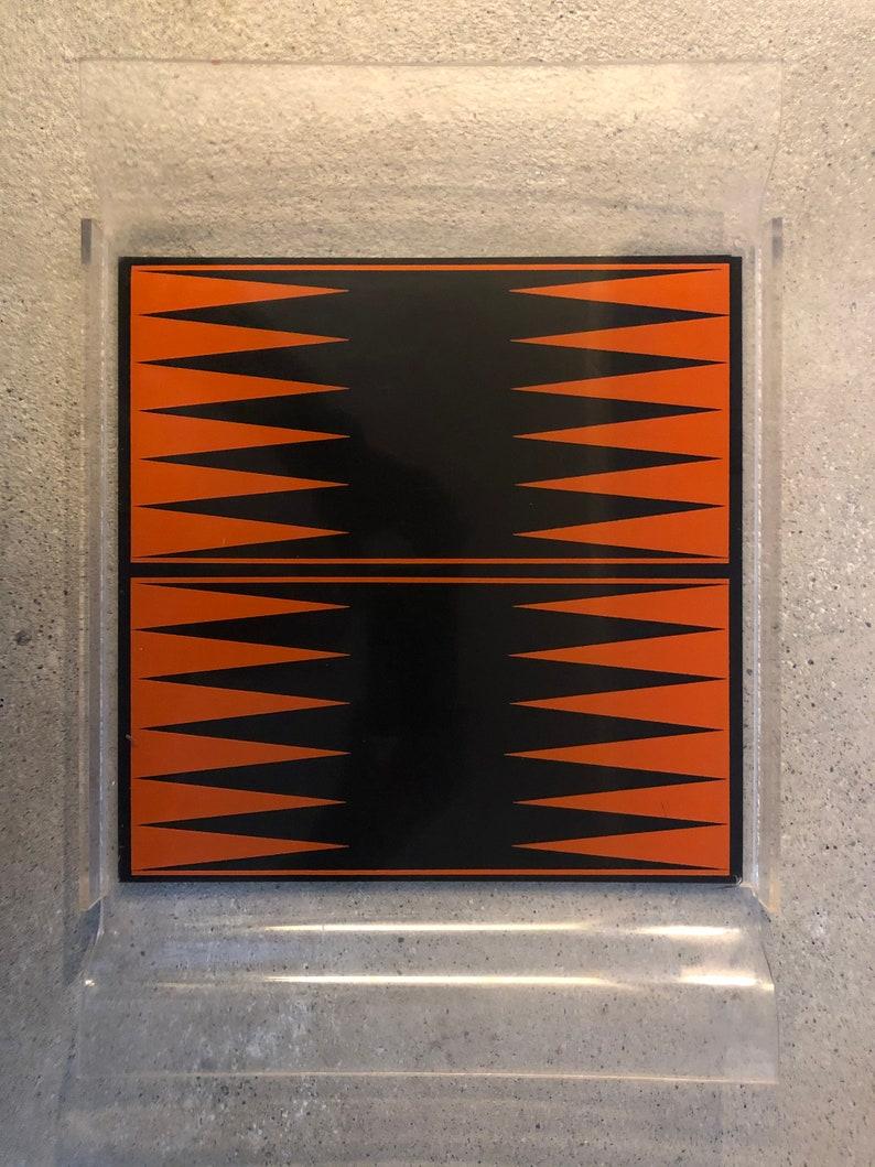 Mid-Century Modern Vintage Lucite Serving Tray Orange and Black groovy mod atomic age mod