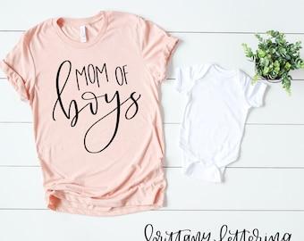 Mom Of Boys SVG - Mom Of Boys - Hand Lettered SVG