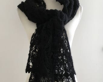 Black Hand Knitted Lace Alpaca Silk Scarf for Women, Winter Lace Scarf, Knitted Lace Alpaca Stole in Black, Warm Winter Lace Shawl, Mohair