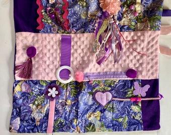 Fidget Blanket, ADORABLE FAIRIES PURPLE, Alzheimer's Fidget Quilt by Restless Remedy