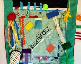 Fidget Blanket, MONOPOLY, BOARd GAMES Alzheimer's Fidget Quilt by Restless Remedy