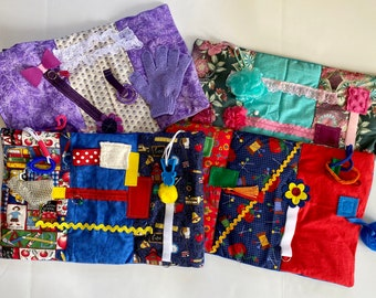 SIX Alzheimer's Fidget Quilts, Nursing Home, Group Home, Memory Care, NO BUTTONS or BEaDs by Restless Remedy