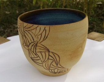 Japanese style Cup, green and Brown stoneware mug