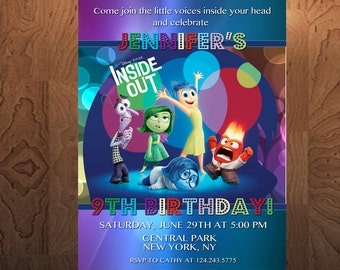 Inside Out Birthday Invitation - Printable birthday invitation - Personalized invitation