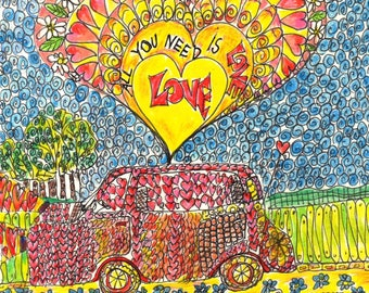 All You Need Is Love (A5 Print)   soul energy drawing