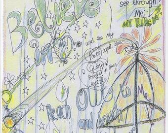 DRIP - DROP - DRIP /  showers, soul energy , psychic drawing, illustration spiritual