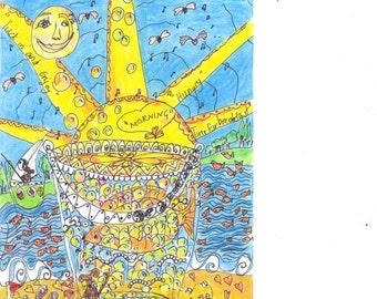 See Through Me  (A5 print)  spiritual, soul energy drawing