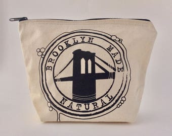 Canvas zipper bag, Canvas zipper pouch, makeup bag, travel bag, carrying case, toiletries bag, brooklyn bridge bag, essential oil bag,