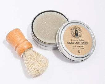 Organic Shave Soap with Tin and Shaving Brush Option