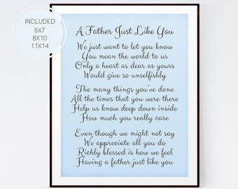Father's Day Gift, A Father Just Like You, Gift for Dad, Father's Day Poem, Father Birthday, Father Gift, Father Print, Wall Art, D66-17
