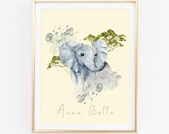 Elephant Print, Animal Print, Name Print, Watercolor Print, Cadre, Nursery Wall Art, Kids Room Print, Baby Shower Gift, Newborn Gift, D81-16