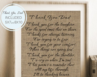 Father's Day Gift, Burlap Father's Day Print, Thank You Dad, Father's Day Poem, Inspirational Print, Gift Ideas, Father Birthday Gift
