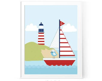 Lighthouse Print, Sailboat Print, Kids Room Art, Nautical Print, Nursery Print, Nursery Wall Art, Baby Room Decor, Baby Shower Gift D82-16-1