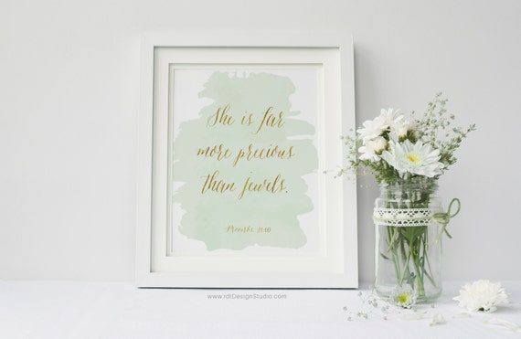 She is far more precious than jewels  Proverbs 31:10, Bible Verse,  Scripture Print, Nursery Wall Art, Kids Room Decor, Christmas, DT68
