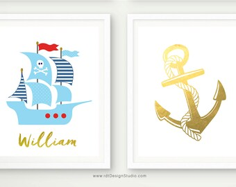 Custom Name Print, Pirate Ship, Set of 2 Nautical Prints, Nautical Name Print, Anchor Wall Decor, Anchor Print, Nursery Wall Art, D83-S6