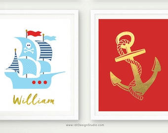 Nautical Name Print, Pirate Ship, Set of 2 Nautical Prints, Anchor Wall Decor, Anchor Print, Custom Name Print, Nursery Wall Art, D83-S3
