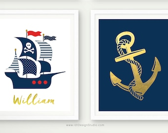 Anchor Wall Decor, Anchor Print, Pirate Ship, Set of 2 Nautical Prints, Nautical Name Print, Custom Name Print, Nursery Wall Art, D83-S1