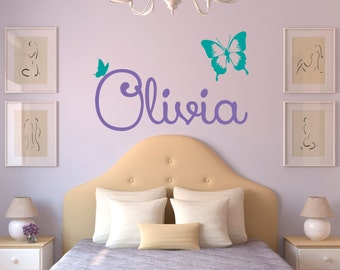 Personalized Name Butterfly Wall Decal   Custom Name Butterfly Wall Sticker    Vinyl Decal Monogram Girls Boys Room   Childrens Wall Decor