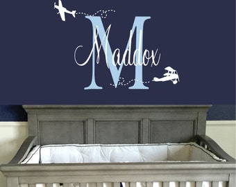 Personalized Name Airplane Wall Decal - Custom Name Airplane Wall Sticker - Vinyl Decal Monogram Boys Room - Childrens Nursery Wall Decor