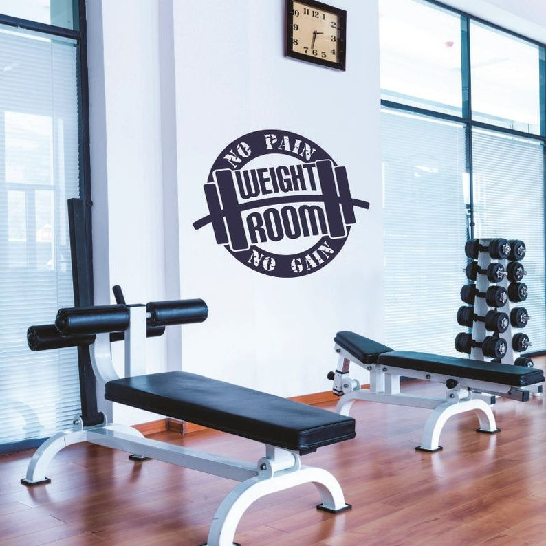 Gym wall decal weight room decal no pain no gain wall etsy