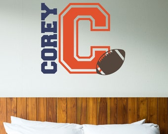 Personalized Name Football Wall Decal   Custom Name Football Wall Sticker    Vinyl Decal Monogram Girls