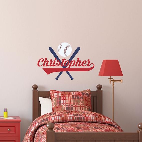 Personalized Name Baseball Wall Decal Custom Name Baseball Etsy