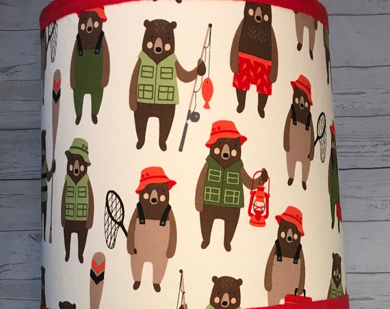 "N017 Medium Brawny Bears Fabric Lampshade -  10"" Round"