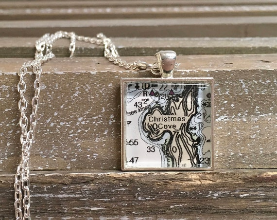 Square Map or Chart Pendant necklace -  Custom made ANY LOCATION you choose!