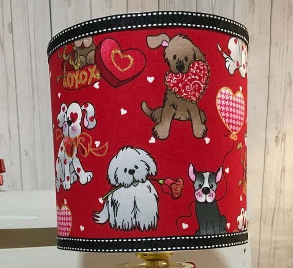 "Extra Small Fabric Lampshade - Valentines Day Hot Cocoa Print - 6"" Round"