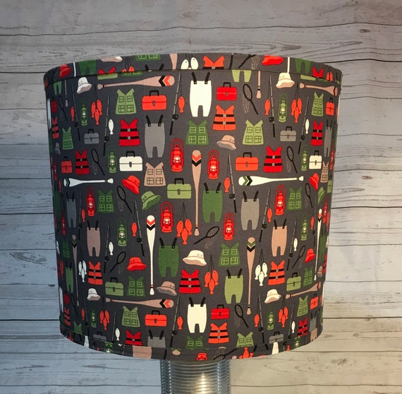 "N019 Small Bears Gear Fabric Lampshade -  8"" Round"