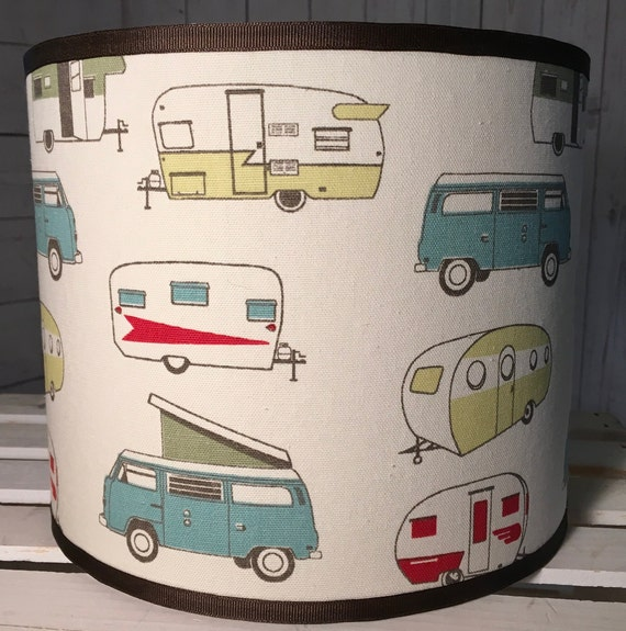 "N043 Small Vintage Campers Fabric Lampshade -  8"" Round"