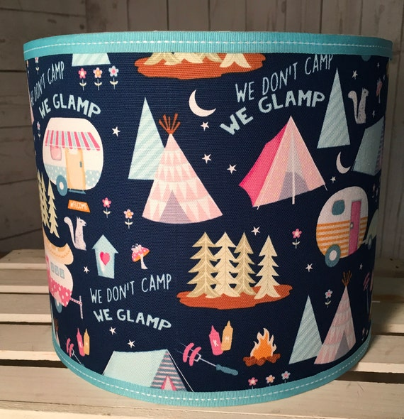 "N043 Large Campers Glamping Fabric Lampshade -  13"" Round"